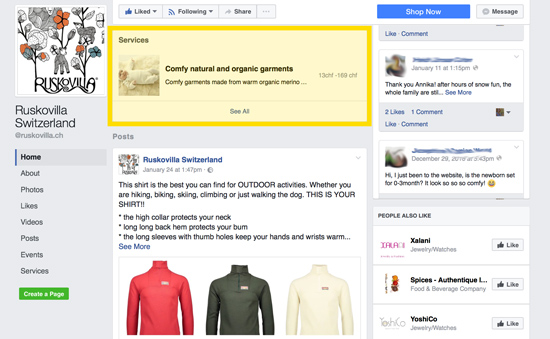 How to display your services on facebook page in 5 minutes ekat ruskovilla facebook services tab screenshot malvernweather Gallery
