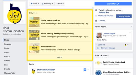 eKat Communication Facebook Services tab screenshot