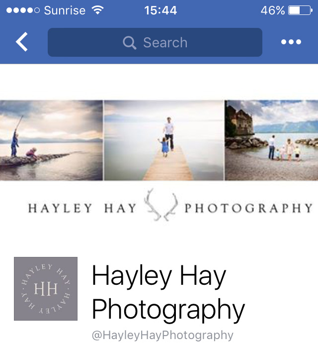 Hayley Hay Photography facebook page screenshot mobile - eKat Communication