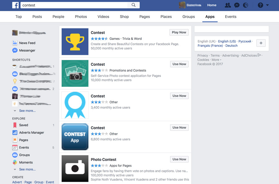 Facebook contest search results screenshot - eKat Communication blog