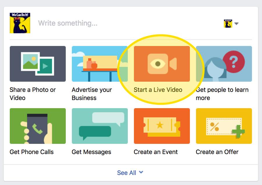 Facebook Live video option screenshot - eKat Communication blog