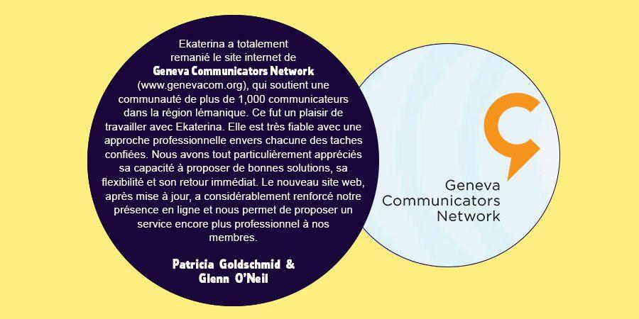 Client feedback slide on eKat Communication - Geneva Communicators Network