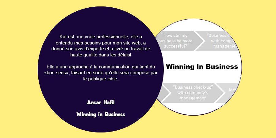 Client feedback slide on eKat Communication - Winning in Business