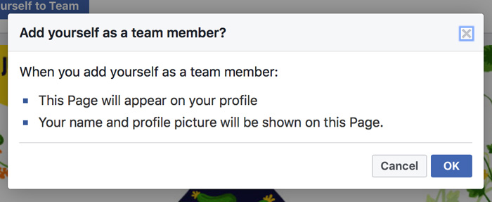 Facebook add yourself to team page explanation screenshot